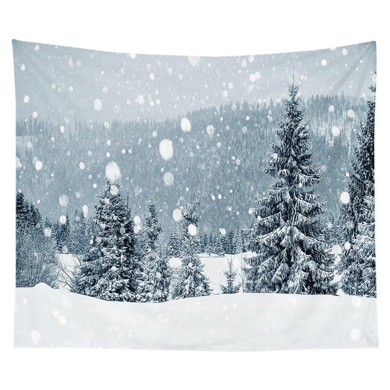 Inverno nevando árvore de natal tapeçaria parede pendurado cobertor natal festa decoração ano novo sala tv fundo decoração da parede
