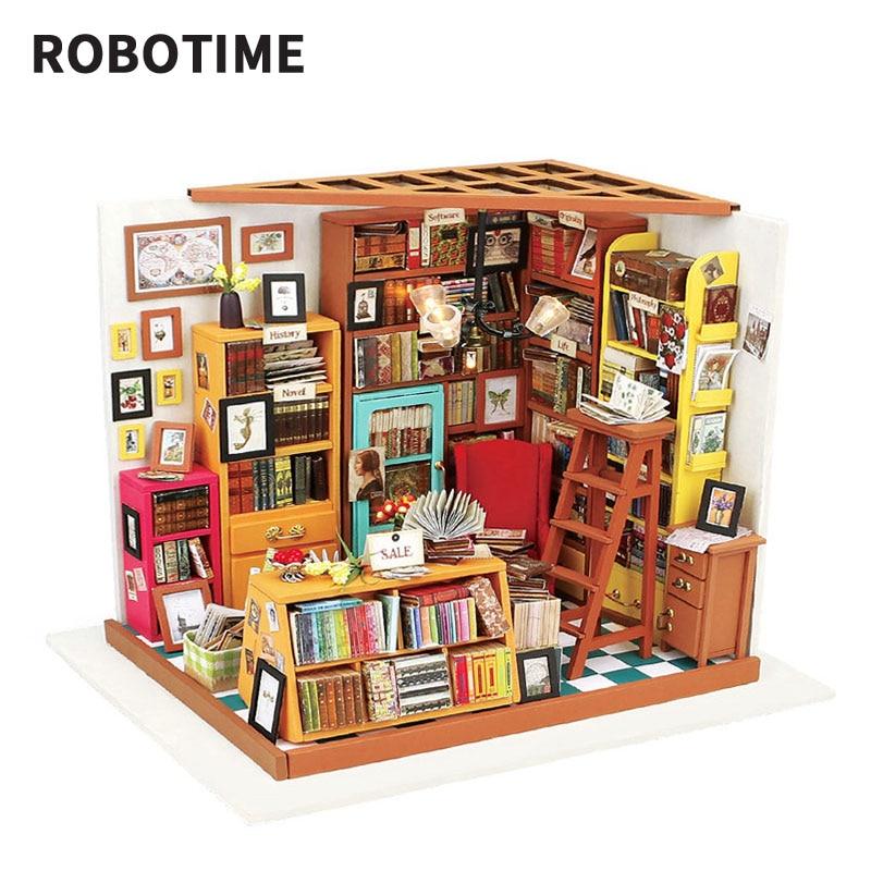 Robotime-مجموعة بناء بيت الدمية الخشبية للفتيات ، لعبة بناء منزل الدمية المصغر مع أثاث المنزل ، DIY