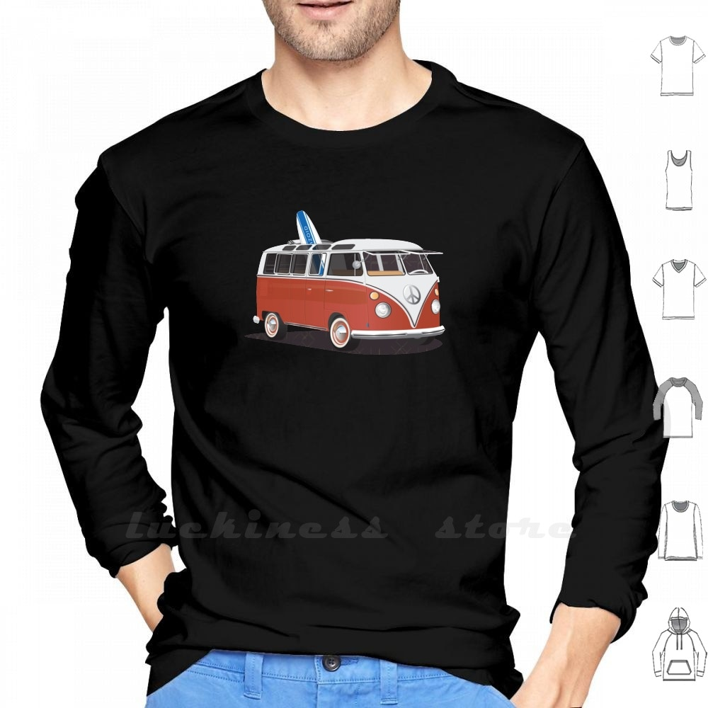 Surfista da janela rachada hippie van vermelho branco & prancha psicodélico manga longa algodão van surf surfista hippie ônibus dividir janela