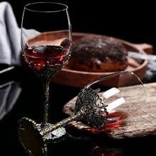 1pc 350ml High-end wine glass crystal glass Wine set small Luxury retro Tall glass