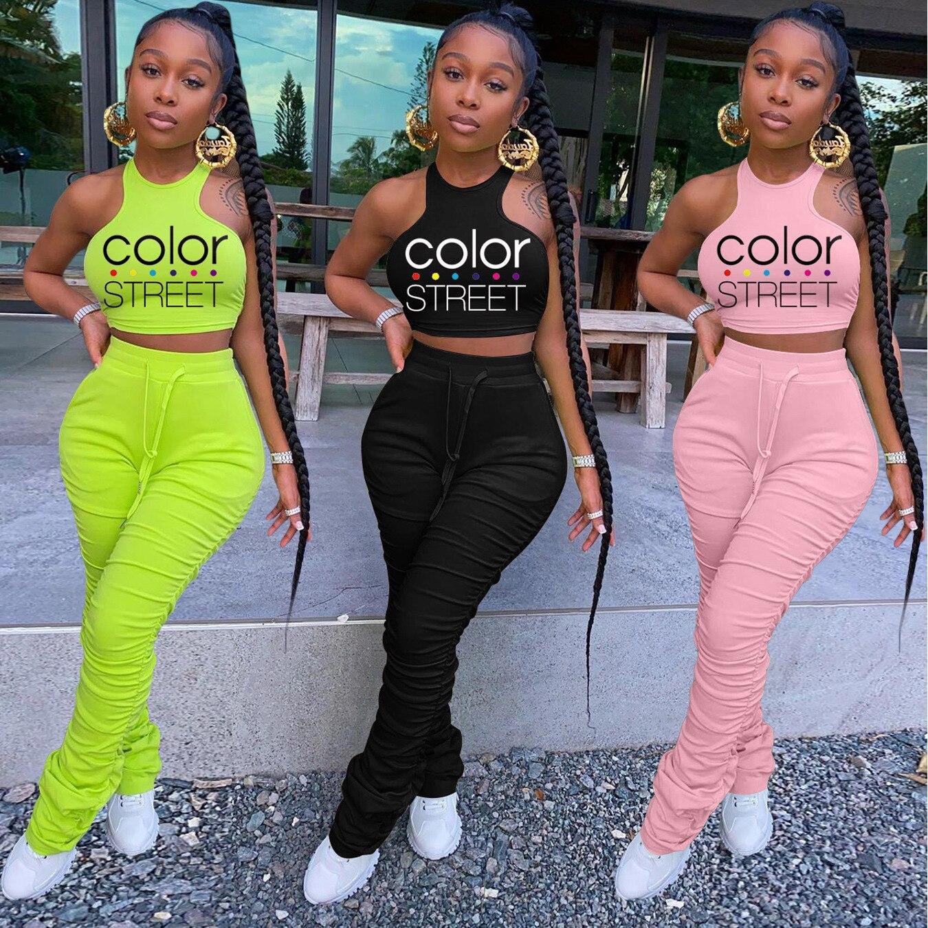 Новинка лета 2021, модная женская одежда, Женский костюм с брюками в стиле High Street