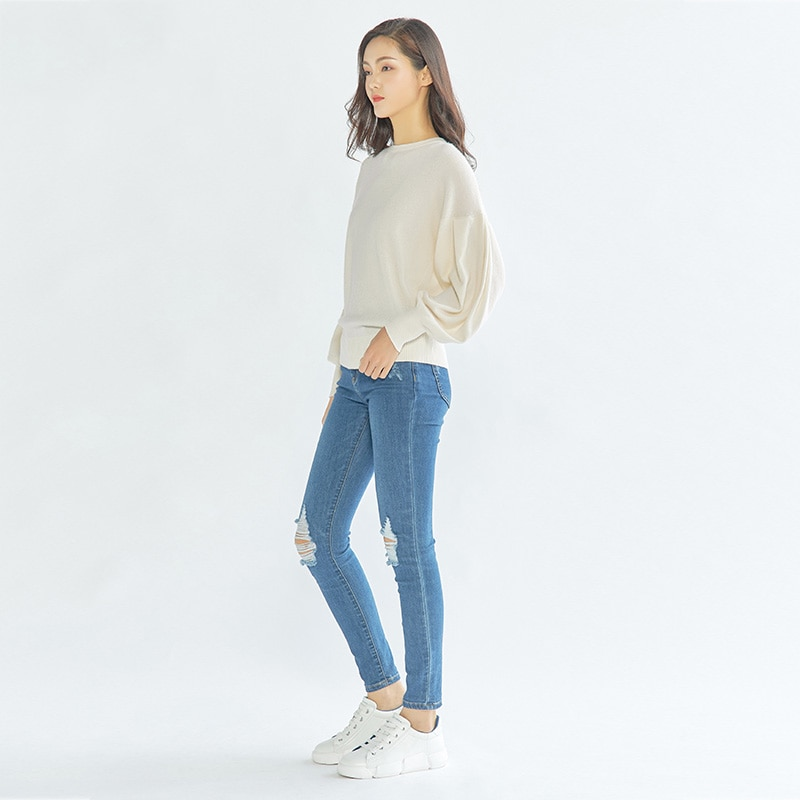 Tailor Shop Custom Made New Round Neck Pure Cashmere Sweater Women Puff Sleeve Pullover Sweater enlarge