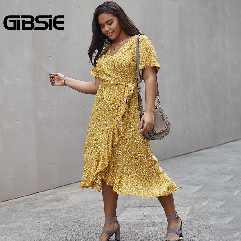 GIBSIE Sexy V-Neck Wrap Ruffle Dress 4xl 3xl Plus Size Female Holiday Floral Print Beach Dresses Casual Women Summer Long Dress