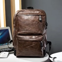 leisure mens backpack travel pu leather backpack college students schoolbag computer bag pu
