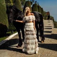 bohemian prom dresses boat neck two piece tiered a line full length off the shoulder short sleeves lace rrobes de cocktail