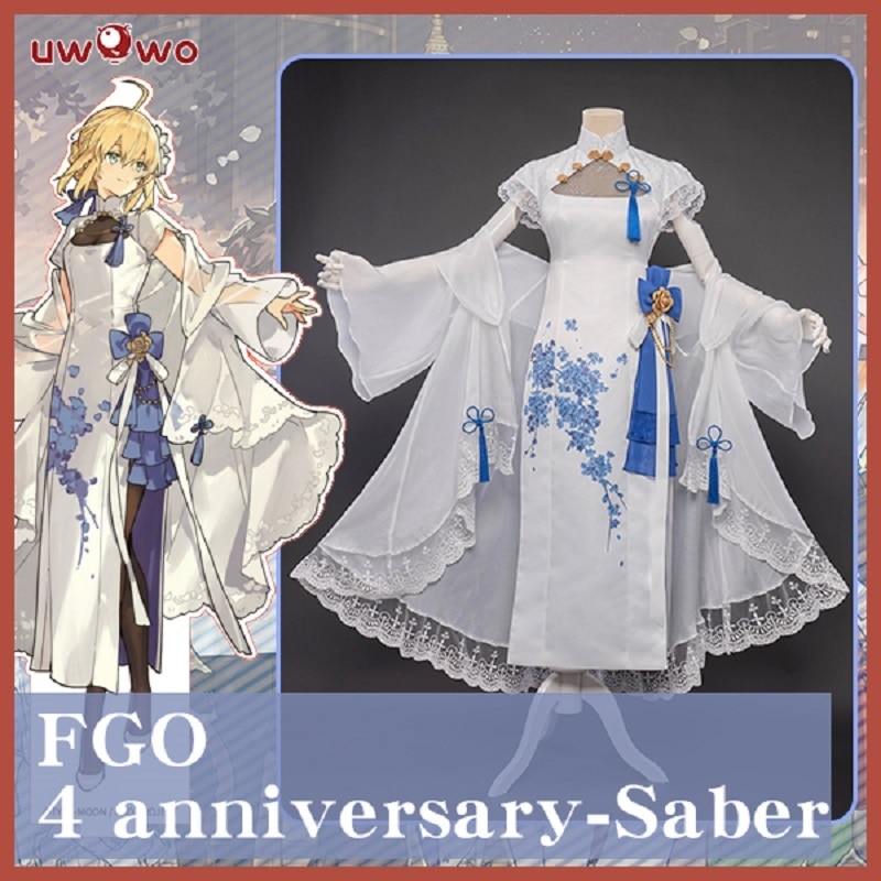 Pre-sale UWOWO Game Fate Grand Order/FGO Saber 4 Anniversary Cheongsam Cosplay Costume For Women Dress Outfit Girl Party uwowo anime fate grand order bb maid cosplay costume uniform fgo women sexy dress for women