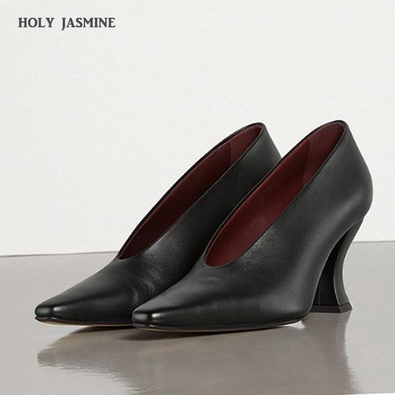 2021 ربيع جديد تصميم مربع كعب مضخات عالية الجودة جلد طبيعي أشار تو مضخات مريحة اليدوية الضحلة النساء الأحذية