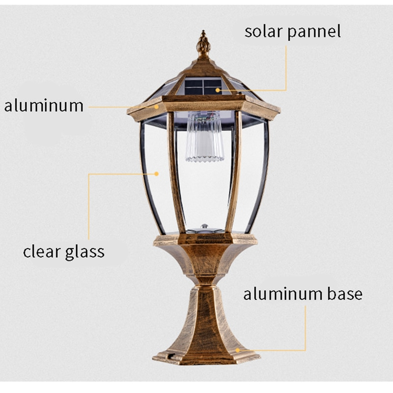 Solar Column Headlight LED Outdoor Lighting Fence Gate Pillar Garden Chinese Style Decor Wall Lamp Waterproof Courtyard Light enlarge