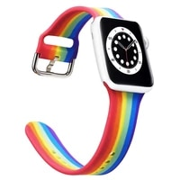 rainbow silicone strap for apple watch band 40mm 44mm 38mm 42mm sport rubber watchband smartwatch bracelet 3 4 5 6 se wristband