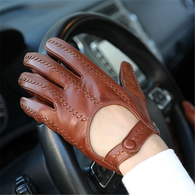 2020 Spring Autumn Sheepskin Gloves Male Locomotive Driving Genuine Leather Fashion Woven Men Gloves Thin Unlined M063N-4 man s real leather gloves thin spring autumn driving sheepskin gloves male unlined fashion simple free shipping te0625a