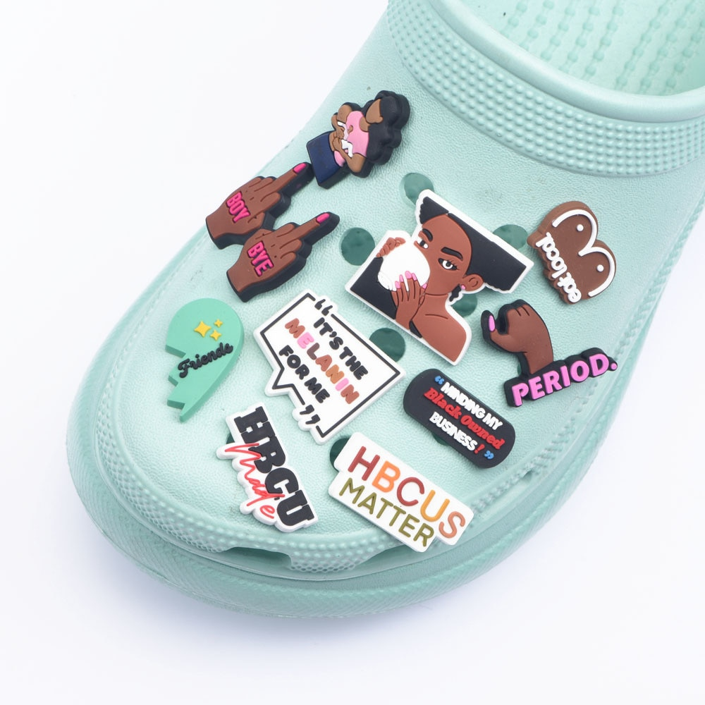 AliExpress - New Arrival Croc Shoes Charms PERIOD Best Friends Shoe Decoration Social Worker Black Girl Accessories Hope World Birthday Gift