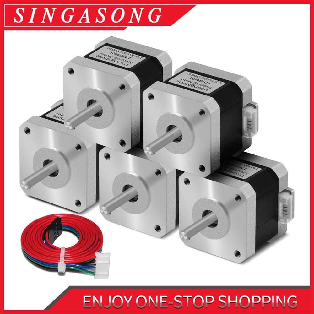 5Pcs Free Shipping Nema17 Stepper Motor 1.5A Nema 17 42BYGH 17HS4401 4 Lead for 3D Printer CNC Engraver