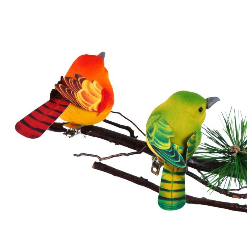 2 unids/lote lindo pájaro de simulación decoración Navidad pájaro ornamento Flock Boutique figurillas Año Nuevo miniaturas chico regalo