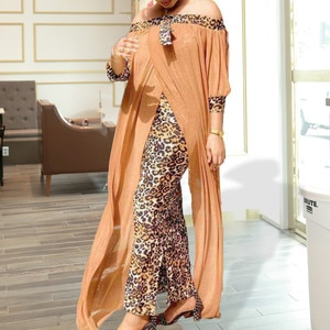 Women Off Shoulder Long Loose Dress Printed Leopard Loose African Female Celebrate Party Maxi Celebrate Event Robes New Vestidos