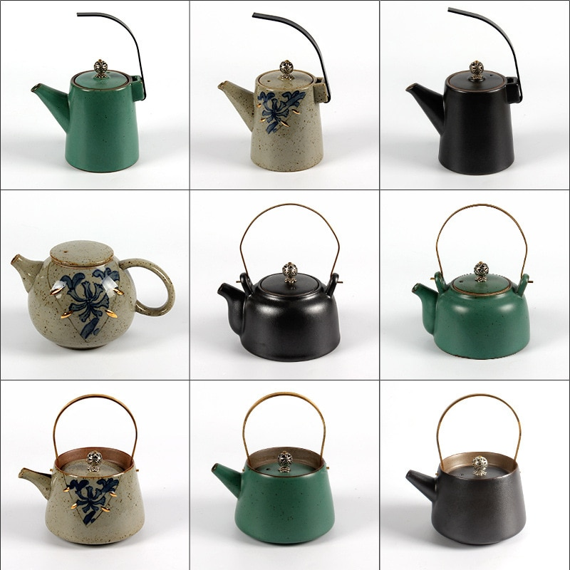 280 مللي الفخار المزجج مقبض كبير براد شاي الحجري باليد وعاء النمط الياباني الإبداعية اليدوية إبريق الشاي