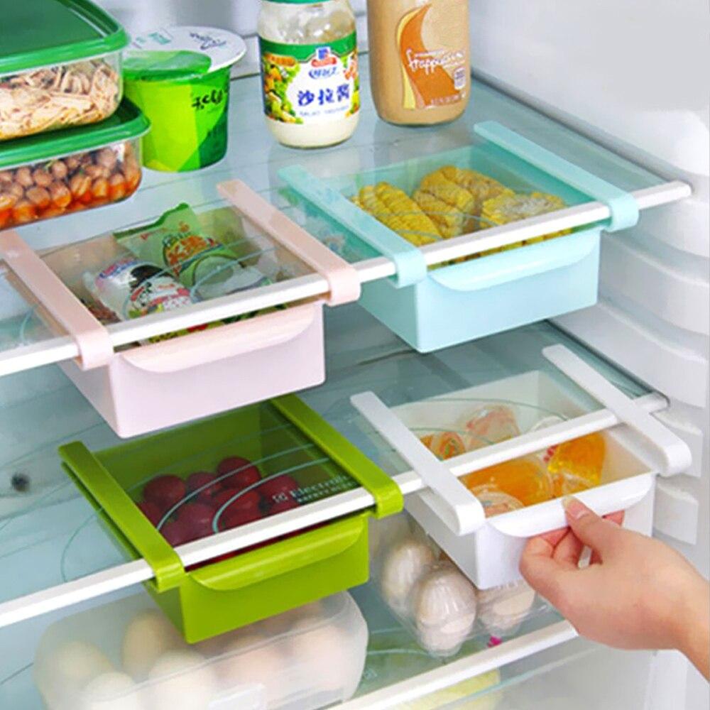 Organizador deslizante extraíble, estante de almacenamiento fresco con espacio para congelador para más espacio, caja para el frigorífico que ahorra espacio