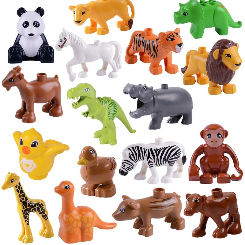 Duplo figuras de animales oso Panda caballo León pato cebra Tigre vaca Rex mono dinosaurio bloques juguetes para niños tamaño grande Duploed