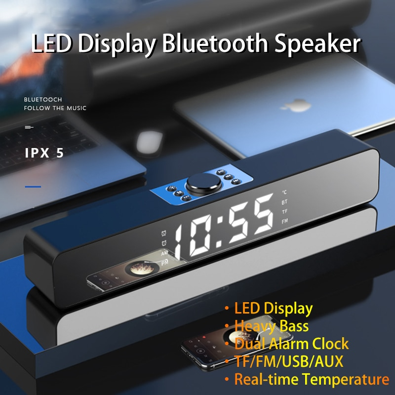 LED TV الصوت بار ساعة تنبيه السلكية سماعة لاسلكية تعمل بالبلوتوث المتكلم المسرح المنزلي المحيطي مضخم الصوت AUX USB للكمبيوتر TV الكمبيوتر المتكلم ...