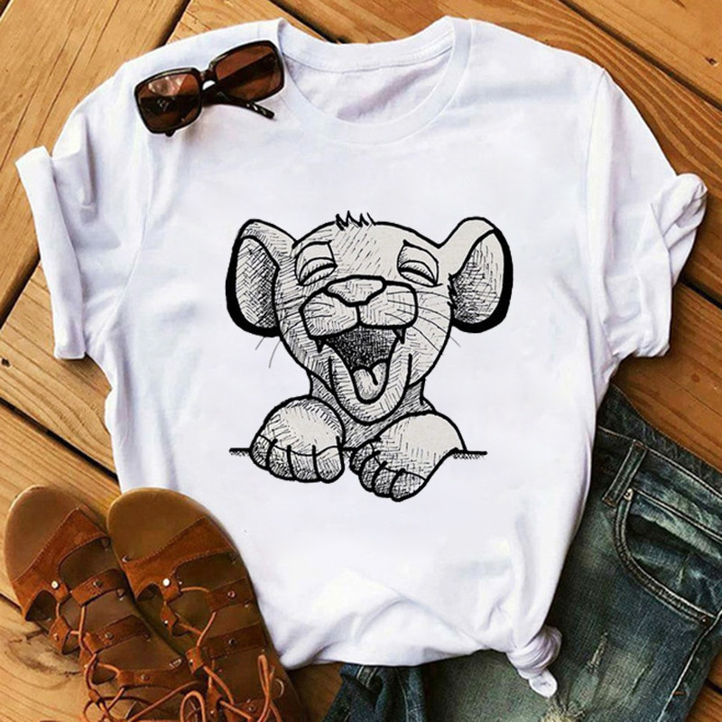 Camiseta con estampado de El Rey León para mujer, remera con estampado...