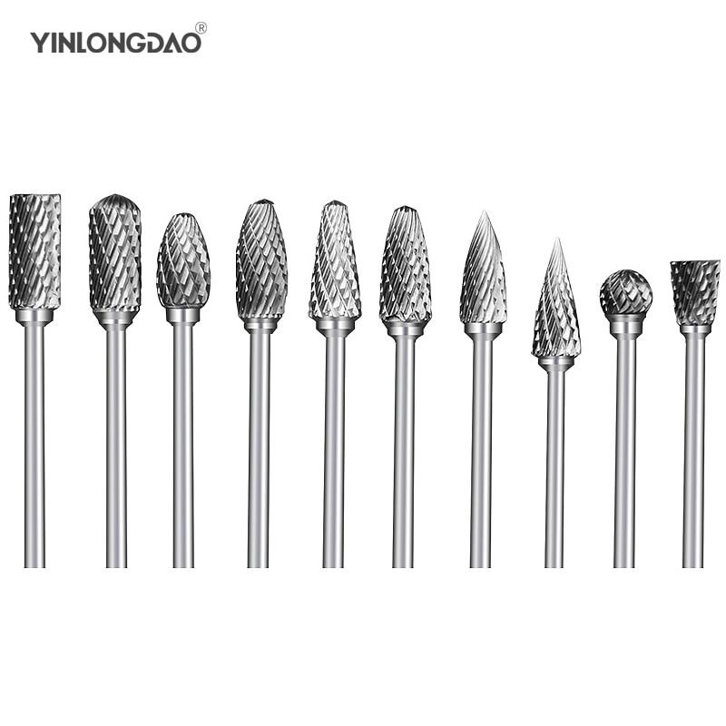 10 Uds de acero de tungsteno de la cabeza de molienda de carburo de tungsteno rebabas juegos mini taladro de diamante material tungstenio dremel Accesorios