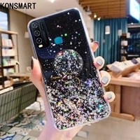 konsmart glitter clear case for vivo y30 6 47 luxury silicone soft bling star cute phone case vivo y30 back cover with holder