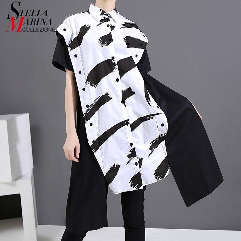 Nueva blusa hípster de retales blanco y negro de verano 2020 para mujer, camisa femenina de gran tamaño con estampado de lados largos para mujer, chemise femme 6153