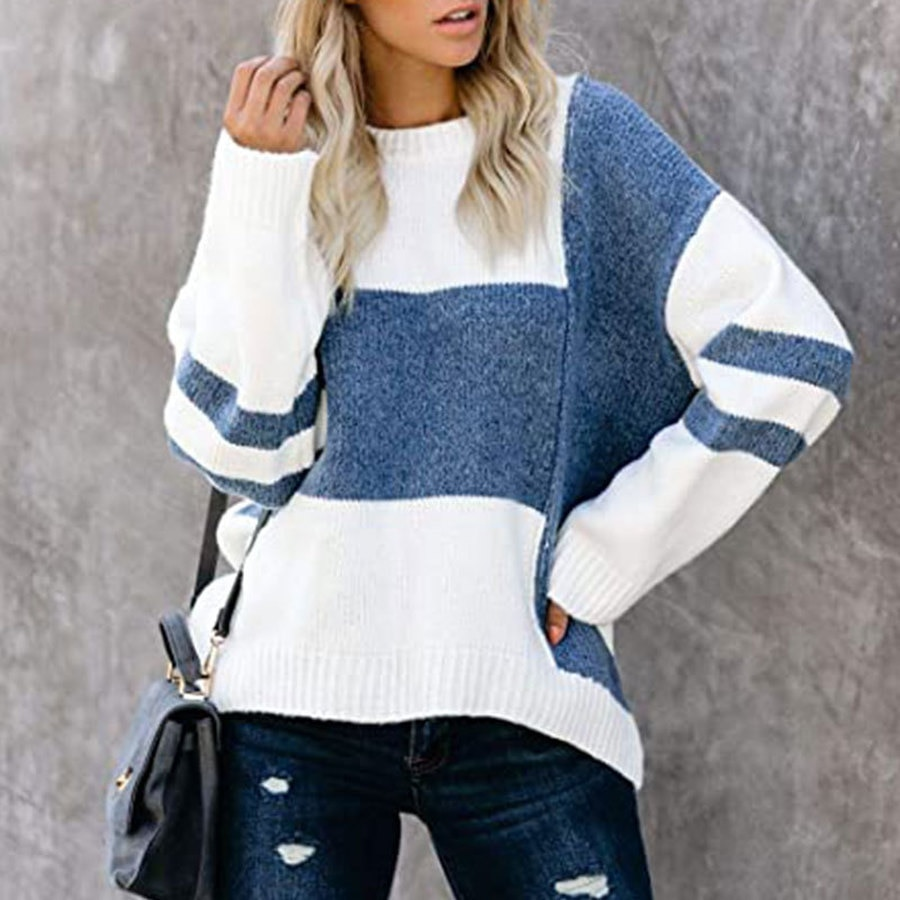 contrast striped pullover sweater Round Neck Pullover Knit Sweater Women Autumn and Winter New Striped Street Sweater Contrast Color Stitching Pullover Womens