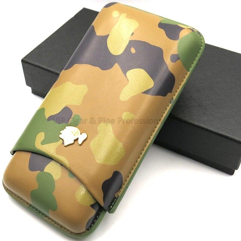 Cohiba engenhocas de couro genuíno camuflagem couro 3 tubo charuto caso humidor titular com caixa presente moda estilo ao ar livre