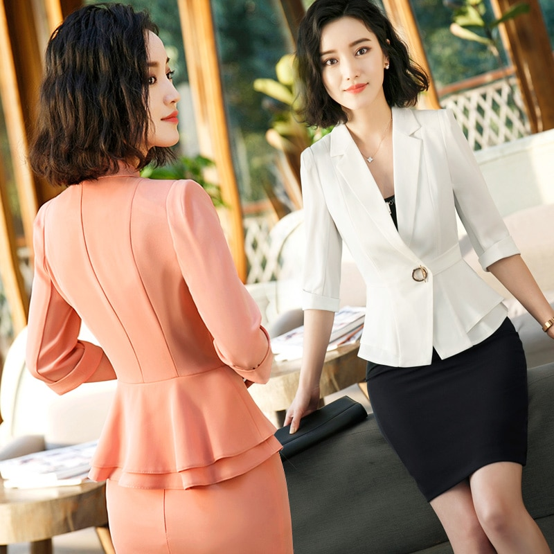 Business Wear Women 2020 New Style Overalls Formal Suit Summer British Style Suit Fashion Temperament Short Sleeve Suit Skirt