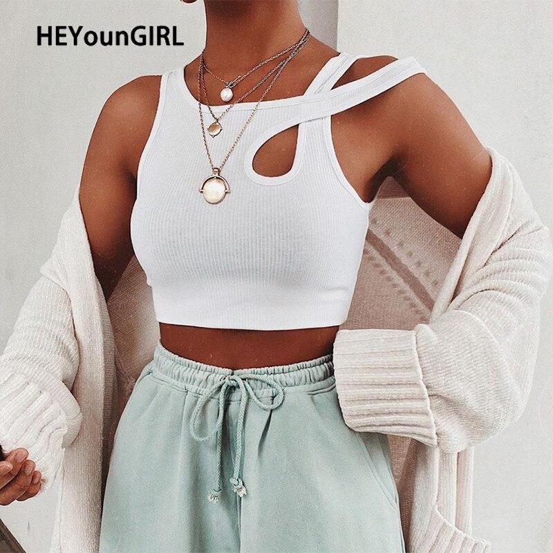 HEYounGIRL, camiseta sin mangas blanca de verano para mujer, Camiseta ajustada con acanalado, Top corto, camisetas a la moda, Mini chaleco deportivo