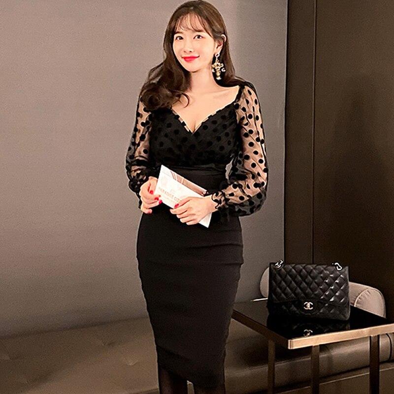 Conjuntos de invierno de malla de punto de retales cuello pico blusa Bodycon Midi falda de dos piezas traje de mujer negro vestido de fiesta