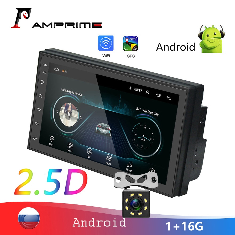 Amprime 2din 7 auauautoradio 2.5d jogador multimídia carro gps bluetooth mp5 android 2 din estéreo do carro para volkswagen nissan rádio do carro