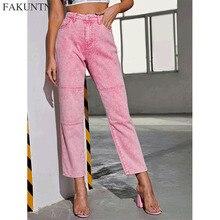 FAKUNTN Fashion Straight Jeans Woman Pants 2020 Autumn Winter Ladies Pockets High Waist Denim Pants