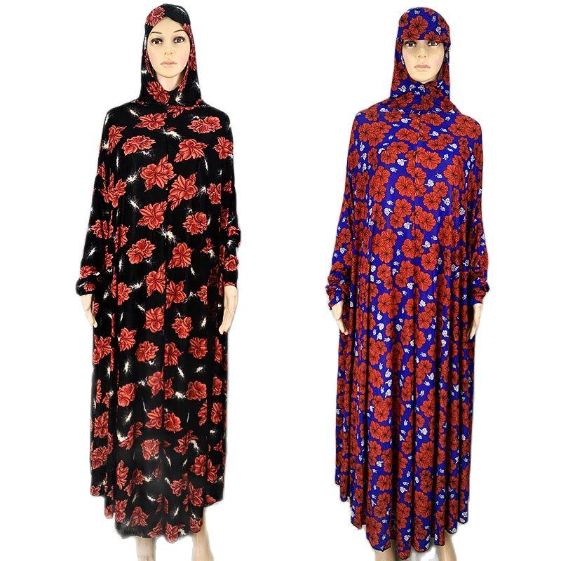 مصلاة للمسلمين تناسب الإسلامية فضفاضة حجم الأزهار فستان طويل الصلاة المملكة العربية السعودية أنثى العبادة الحجاب البرقع الملابس
