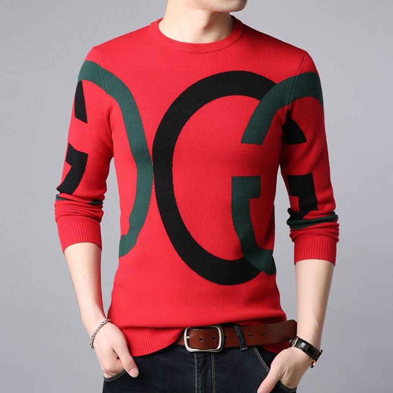 Autumn and winter new trend versatile men's wear round neck long sleeve trend handsome sweater