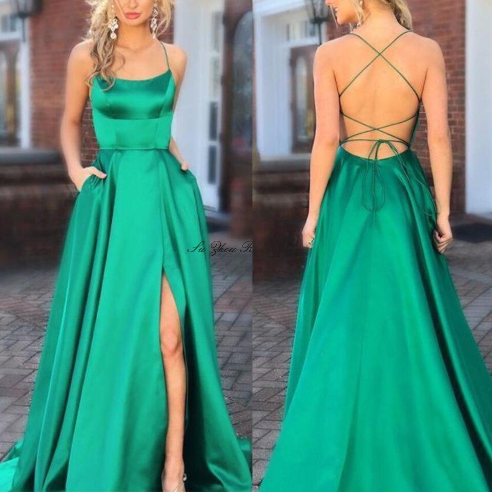 Verde longo vestido de festa sem costas vestido de noite 2020 vestido formal de cetim vestidos elegantes rendas-up de volta andar de comprimento a linha lateral-split