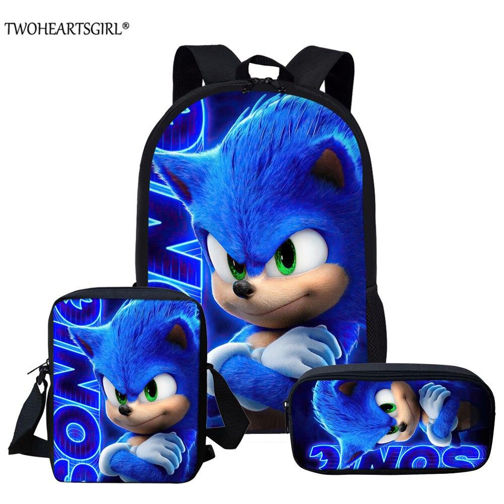 Twoheartsgirl 3pcs/set Sonic the Hedgehog Print School Bags for Teenager Girls Kids Cartoon School Backpack Student Bookbags