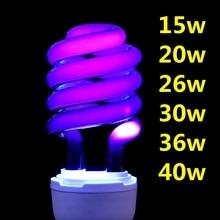 220V E27 15-40W UV светильник лампы УФ ультрафиолетовые люминесцентные CFL светильник лампа Спиральные энергосберегающие черный светильник фиолетовый лампы светильник Инж