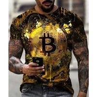 casual streetwear fashion t shirt mens short sleeved loose t shirt bitcoin 3d printing slim round neck pullover and men collar