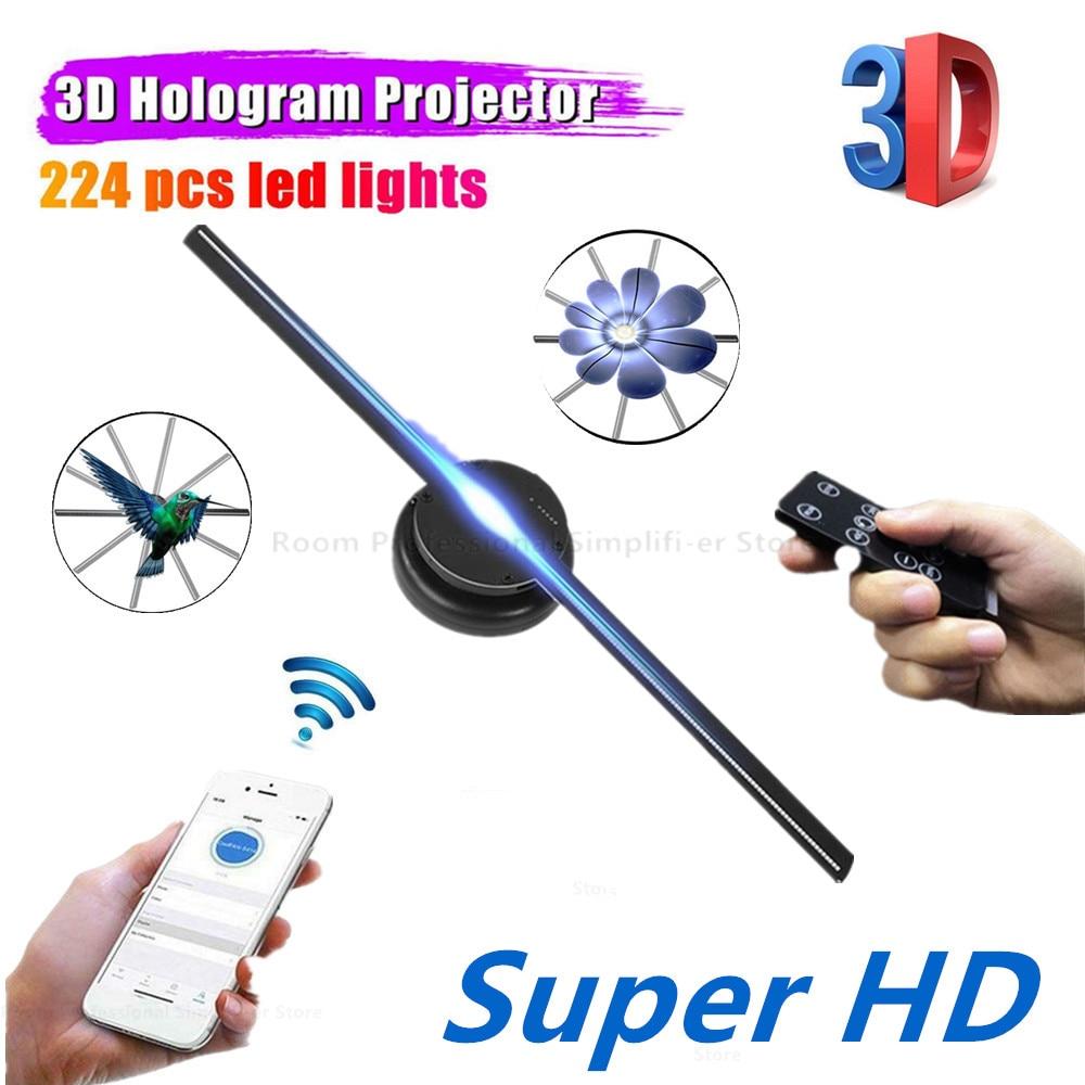 Wi-Fi 3D голограмма проектор светодиод голографический вентилятор реклама дисплей голографический изображение лампа HD 3D реклама изображение логотип свет