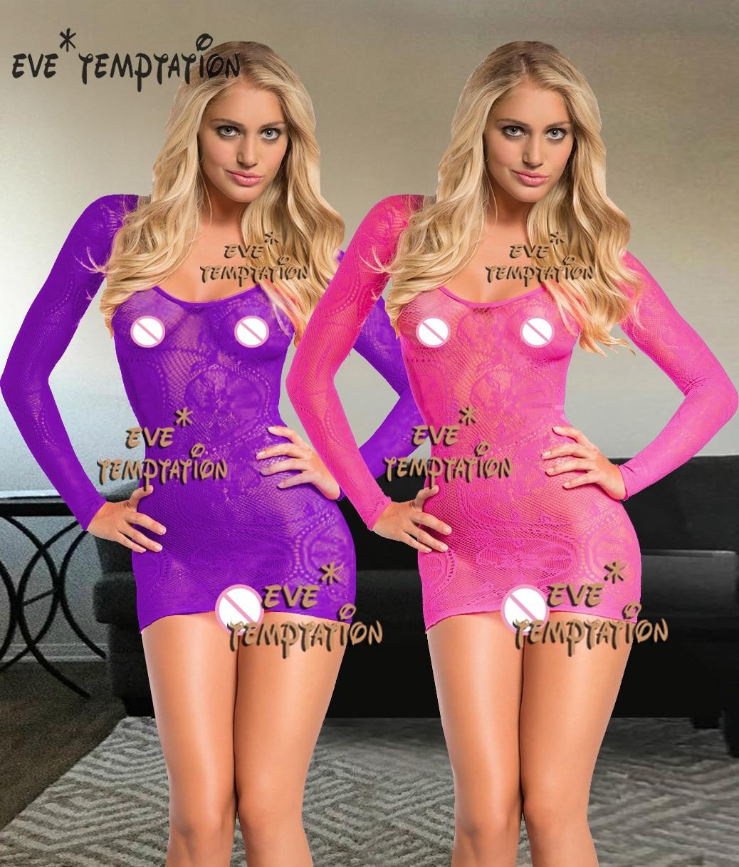 Sexy Fish Net Lencería Babydoll vestido Babydoll perforate ropa interior translúcida fuera del hombro peluches camisón disfraces W570