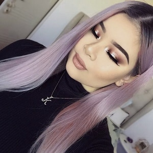AIMEYA Dark Roots Ombre Ash Pink 13×6 Silky straight Synthetic Lace Front Wig for Women Long Hair High Temperature Lace Wigs