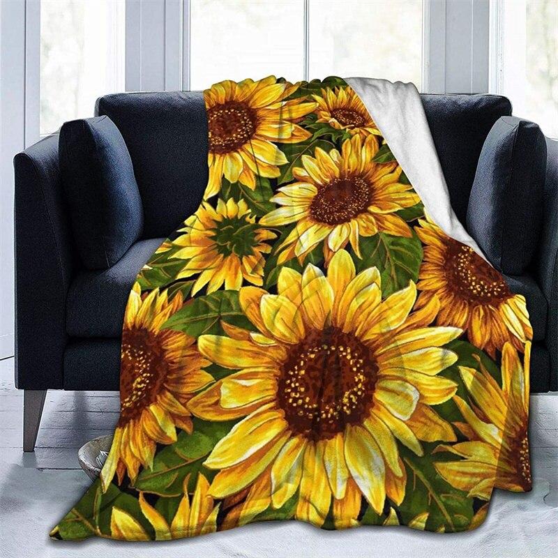 البرية عباد الشمس لينة أفخم هدية الفانيلا صوف ليف دقيق المفرش شيربا 3d-print بطانية الأريكة غرفة نوم ديكور