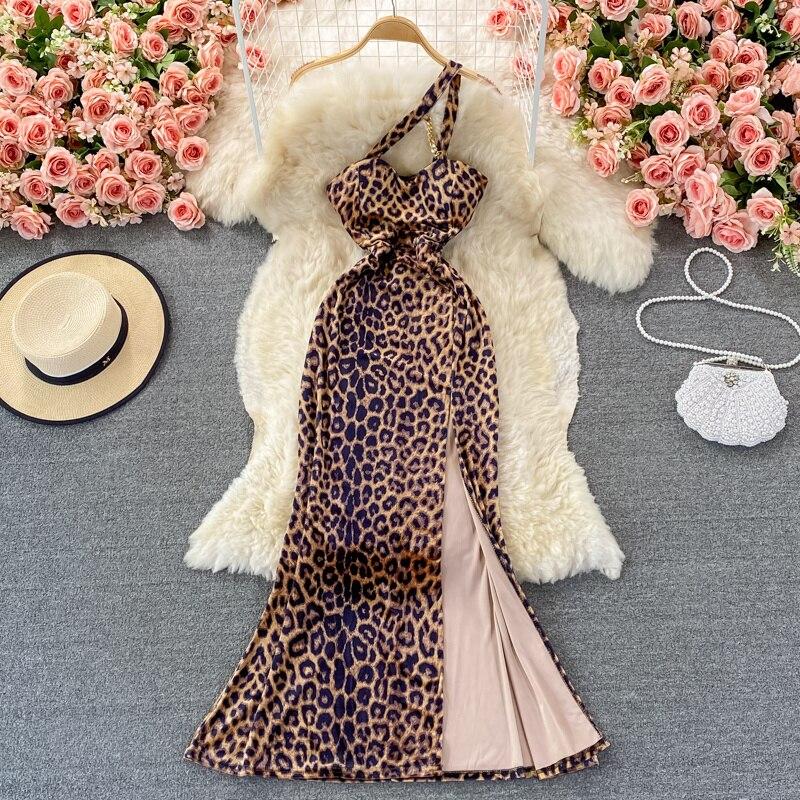 مثير واحد الكتف ليوبارد طباعة فستان طويل المرأة موضة الخريف أكمام عالية الخصر سبليت مساء حفلة حورية البحر فستان Vestidos