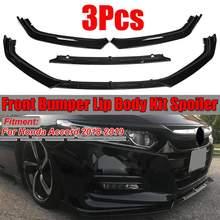 3Pcs Glossy Black Car Front Bumper Chin Lip Splitterr Lip Spoiler Diffuser Protection Caver Trim For Honda For Accord 2018 2019