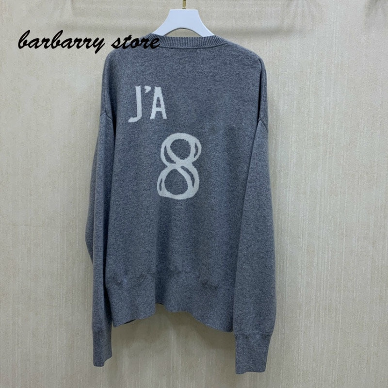 2021 Luxury Design Senior gray fashion women's long sleeve Pullover temperament versatile round neck loose cashmere sweater