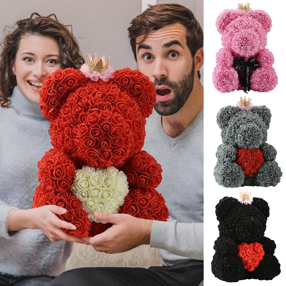2021 رخيصة الدب الأحمر الوردي تيدي بير زهرة الورد الديكور الاصطناعي هدايا عيد الميلاد للنساء هدية عيد الحب