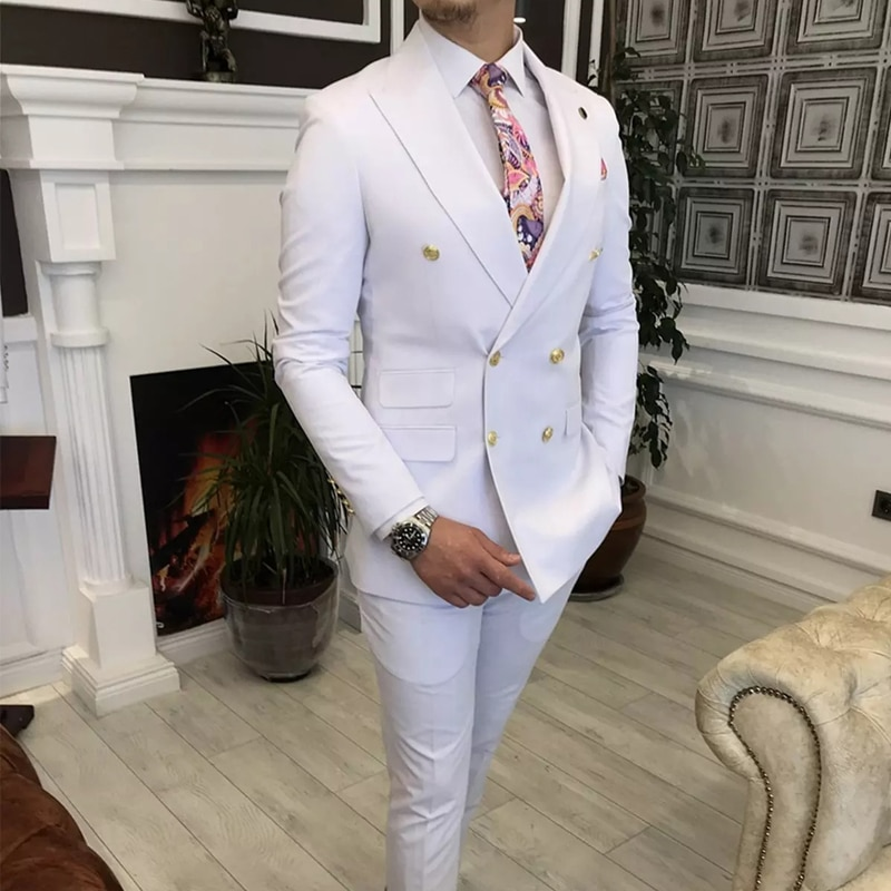 Double Breasted White Men Suits with Peaked Lapel Slim fit 2 piece Wedding Tuxedo Man Fashion Male Prom Costume Jacket Pants