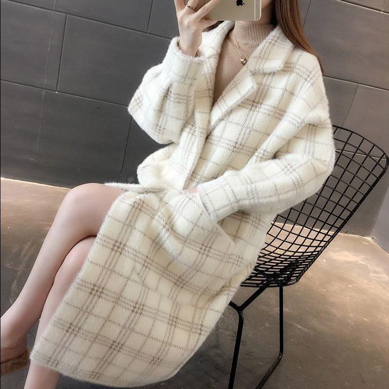 Новинка, корейский свитер с имитацией норки, пальто, Осень-зима, Женская куртка, свободный длинный вязаный кардиган, пальто в клетку, длинное пальто f1676