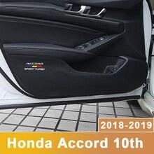 PU de Couro Do Carro Porta Interior Anti Pontapé Pad Co-Mat Caixa de Armazenamento De Proteção Etiquetas Para Honda Accord pilot 10th 2018 2019 Acessórios